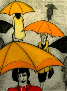 Orange and Yellow Umbrellas | SOLD